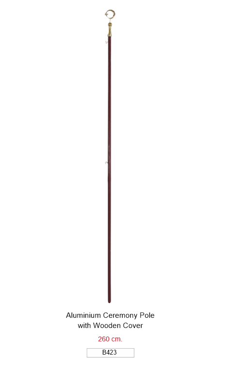 B423 ALUMINIUM CEREMONY POLE WITH WOODEN COVER 260 CM