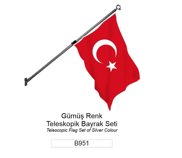 B951 GÜMÜŞ RENK TELESKOPİK BAYRAK SETİ