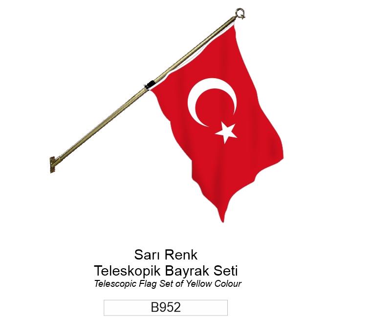 B952 TELESCOPIC FLAG SET OF YELLOW COLOUR